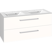 Furniture pack with 4 drawers and double Mikado washbasin, 120 cm