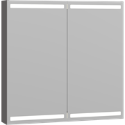 Mirror cabinet with 2 doors, and lighting at the top and bottom, 80x80x15 cm