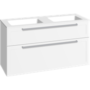 Furniture pack with drawers and double Facet washbasin, 120 cm