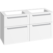 Furniture pack with 4 drawers and double Facet washbasin, 120 cm