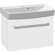 Furniture set with flip door and Cappella washbasin, 62 cm