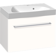 Furniture set with drawer and Ludo washbasin, 60 cm
