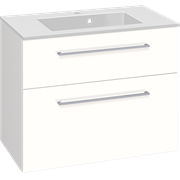 Furniture pack with drawers and Micca solid surface washbasin, 80 cm