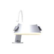 Saturn 12v lampe med arm, krom