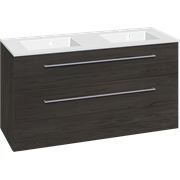 Furniture pack with drawers and Micca solid surface double washbasin, 120 cm