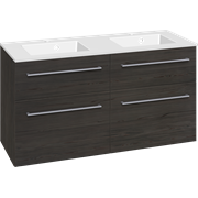 Furniture pack with 4 drawers and Micca solid surface double washbasin, 120 cm