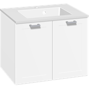 Furniture pack with doors and Micca solid surface washbasin, 60 cm