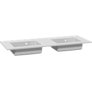 Minore solid surface double washbasin 120 cm, with tap hole
