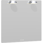 Soft Mirror with rounded corners and adjustable Saturn light, 80x80 cm