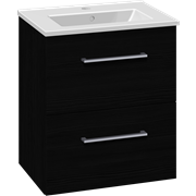 Set with vanity unit 51 cm with drawers and Dina mini porcelain washbasin