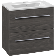 Set with vanity unit 61 cm with drawers and Dina mini porcelain washbasin