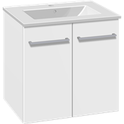 Set with vanity unit 61 cm with doors and Dina porcelain washbasin