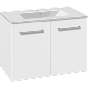 Set with vanity unit 81 cm with doors and Dina porcelain washbasin