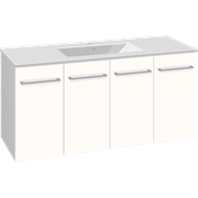 Set with vanity unit 121 cm with doors and Dina porcelain washbasin