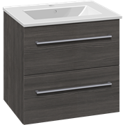 Set with vanity unit 61 cm with drawers and Dina porcelain washbasin