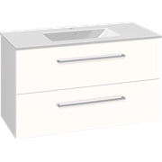 Set with vanity unit 101 cm with drawers and Dina porcelain washbasin