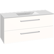 Set with vanity unit 121 cm with drawers and Dina porcelain washbasin