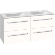 Set with vanity unit 121 cm with drawers and Dina double porcelain washbasin