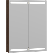 Mirror cabinet with 2 doors, and lighting at the top and bottom, 80x60x15 cm